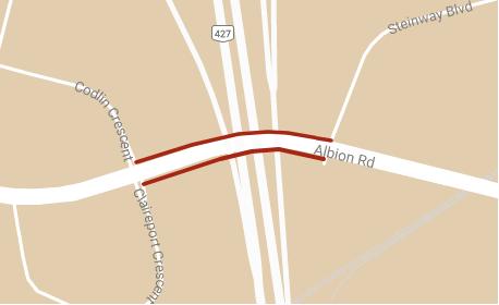 carte montrant l'emplacement des fermetures temporaires de Albion Road entre Codlin Crescent et Steinway Boulevard