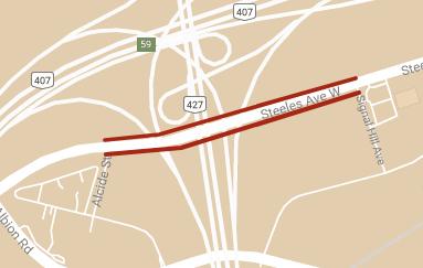 carte montrant l'emplacement des restrictions temporaires des voies de Steeles Avenue entre Alcide Street et Signal Hill Avenue