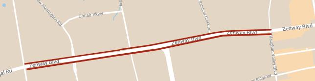 carte montrant l'emplacement des reductions des voies temporaires de Zenway Boulevard entre Vaughan Valley Boulevard et Huntington Road