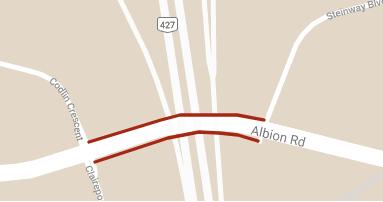 carte illustrant la fermeture du Albion Road entre Steinway Boulevard et Codlin Crescent