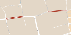 carte montrant l'emplacement des Réductions temporaires des voies à long terme de Zenway Boulevard